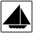 Schild weiß - Segelboot