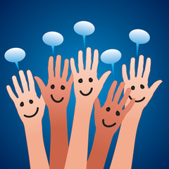 happy hands and speech bubbles