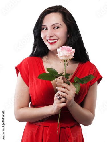 pretty young woman is happy with her gift - isolated