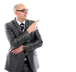 business man in suit pointing at copy spac