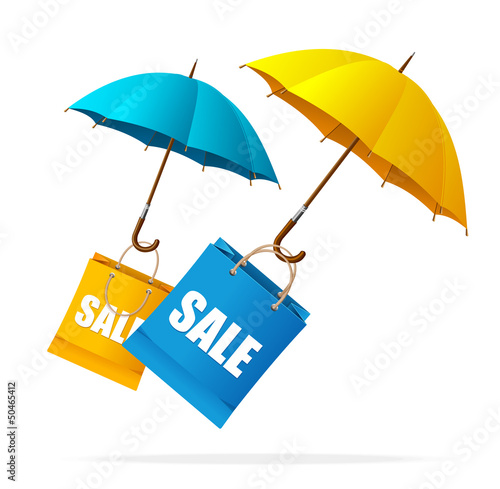 Vector spring sale labels with umbrellas