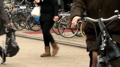 Dutch people riding bikes in Groningen