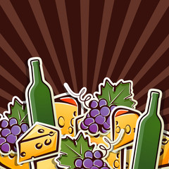 background with wine, grapes and cheese