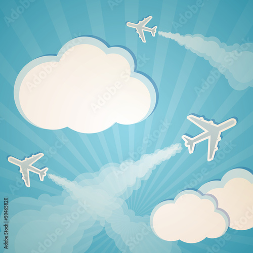 Aluminium Hemel blue background with planes