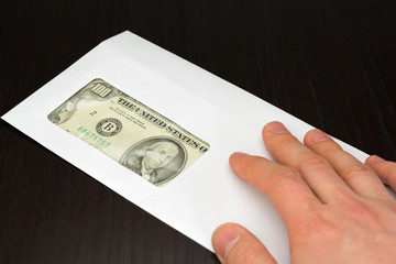 dollar money in envelope