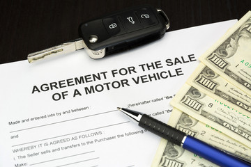 Sale of motor vehicle document form