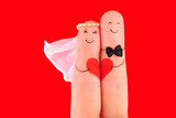wedding concept, newlyweds with  heart against red background, p