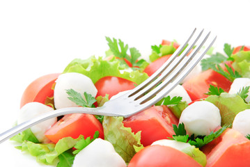 fresh vegetable salad with tomatos, cheese mozzarella and greens
