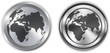 World map on metallic circle elements