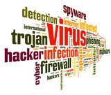 Virus concept in tag cloud