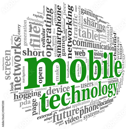 Mobile technology concept in word tag cloud