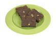 Chocolate fudge brownies on plate