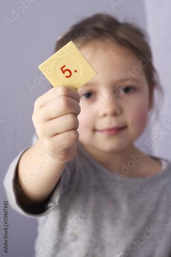 canvas print picture Mädchen lernt Zahlen