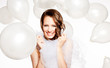Smiled happy bride in  white balloons