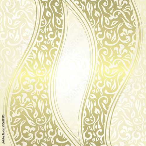 Vintage damask seamless background with a ribbons