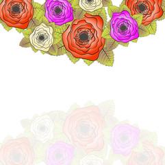 Set of roses. Vector illustration.