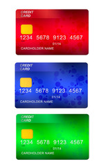 set of three credit cards