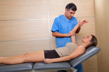 Shoulder physiotherapy doctor therapist and woman patient