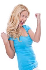 Junge Frau strahlt vor Glück - blonde Haare - isoliert