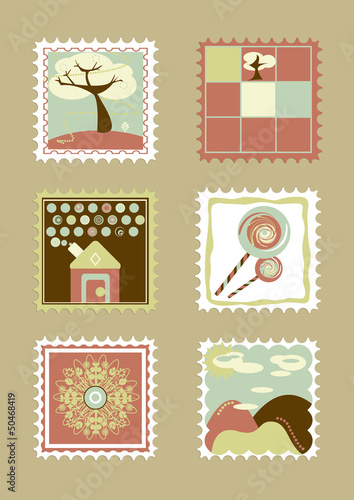 Postcard. Child stamps. illustration