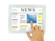 hands  pointing on news at modern tablet PC