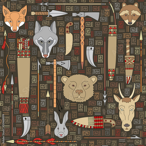 seamless pattern of Indian hunting