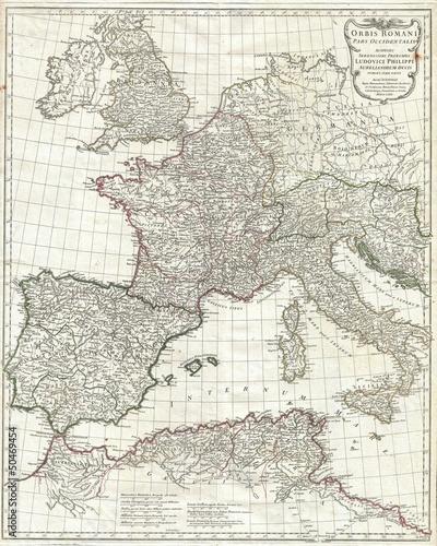 Obraz na płótnie Imperium Rzymskie vestern rocznika mapę. 1763