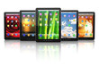 Group of digital tablet pc with different screen backgrounds.