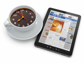 Morning news. Tablet pc  and clock as cup of coffee