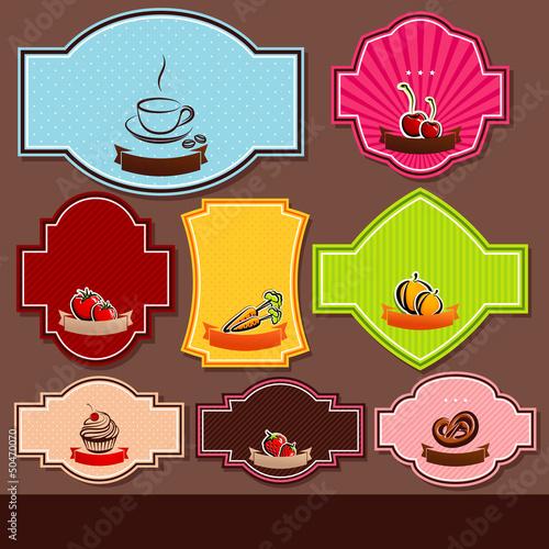 set of food labels