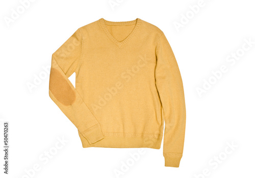 male yellow sweater isolated on white background