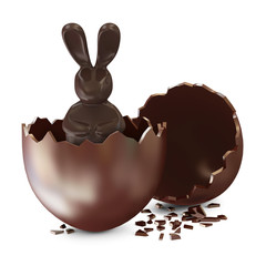 Broken Chocolate Easter Egg with Chocolate Bunny Inside