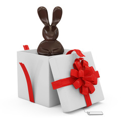 Opened Gift Box with Chocolate Easter Bunny