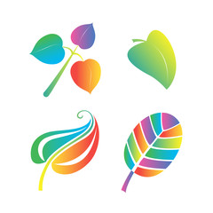 Colorful leaves' symbols