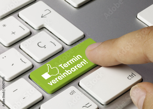 Leinwanddruck Bild Termin vereinbaren! tastatur finger