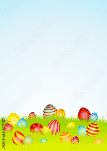 20 Colored Easter Eggs Meadow Sky DIN A4
