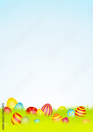 16 Colored Easter Eggs Meadow Sky DIN A4