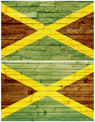 Vintage wall flag of Jamaica collage