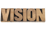 vision word in wood type