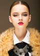 Glamour. Honorable Fashionable Woman in  Rufous Fur Collar
