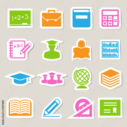 Education sticker icons set.