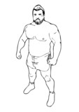 Stocky man sketch vector poster