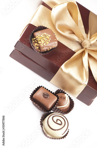 Chocolate Candy Box isolated white background