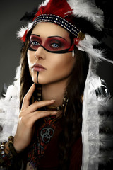 Portrait of American Indian girl