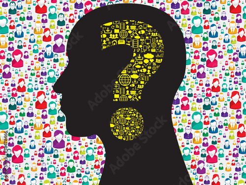 Human head with question mark symbol