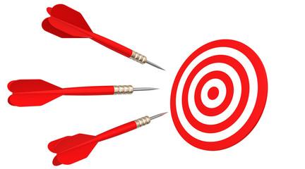 darts flying in aim
