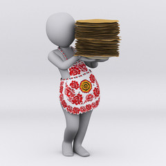 3D girl with pancake. Maslenitsa