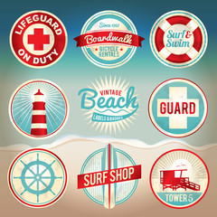 Vintage Beach Labels and Badges