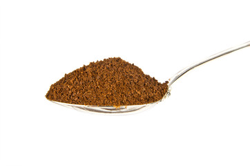 Ground coffee in teaspoon isolated on white