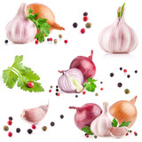 Garlic and onion with peppercorn and parsley isolated on white